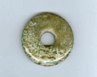 Green Focal Donut, 45mm Green Mottled Jasper Gemstone PI Donut Focal Pendant 690