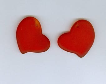 Red Heart Pendants, Set 2 Cherry Red 30mm Heart Sea Glass Pendant Seaglass Bead