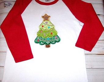 Sample SALE Girls Raglan Christmas Tree Applique 3/4 Sleeve Shirt Size 10--Sparkle--Christmas--Holiday