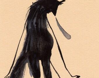 Sad Wolf Original / gouache painting