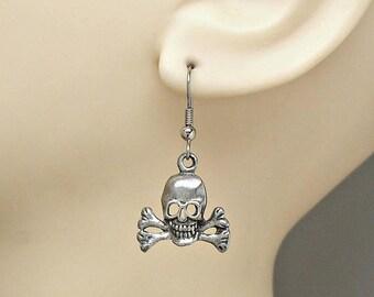 SALE Earrings Skull and Crossbones Pirate Dangle Ear Wires Pair
