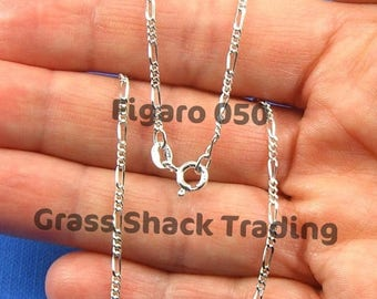 SALE Sterling Silver Figaro 050 Chain Necklace 16, 18, 20, 24 and 30 inches 1.8mm Style no. 170