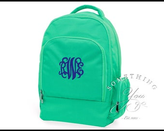 Buckingham Collection Monogrammed Backpack, Personalized Backpack, Mint Bookbag for kids, canvas backpack, solid color backpack