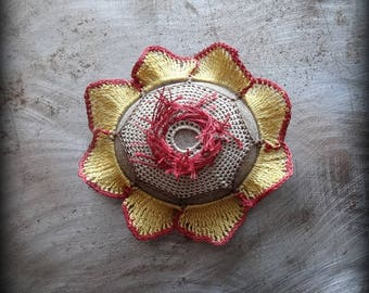 Crocheted Flower Stone, Handmade One of a Kind Unique Decorative Doily Rock, Flower, Bohemian Beach, Small, Gold, Red Miniature Art, Monicaj