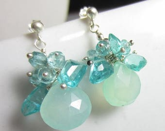 SUMMER SALE Mint Tea Earrings - Aqua Chalcedony topped with Apatite on Silver