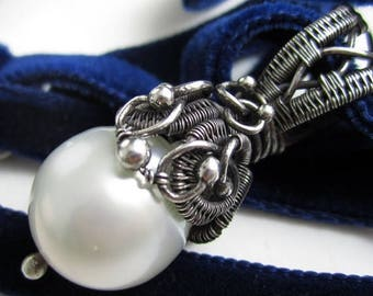 SUMMER SALE Velvet Midnight and the Moon - Australian South Seas Pearl Wrapped in Fine Silver on a Velvet Blue Ribbon