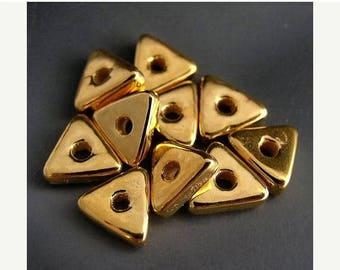SALE Naos Mykonos Greek Ceramic Beads (10) - 24K Gold Dipped - Flat Triangles - 9mm