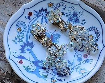 FREE SHIPPING Vintage Iridescent Glass Crystal Clip Earrings