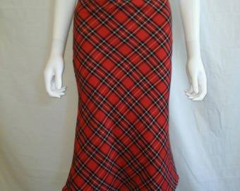 Tartan plaid Skirt 90s Skirt 90s Grunge Skirt 90s Club Kid Skirt midi long skirt  xs small