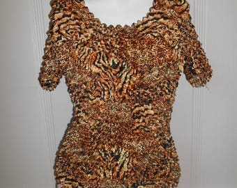 90s animal print leopard  SCRUNCHY top womens   TEXTURED shirt one size fits most   tee
