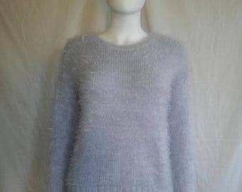 Closing Shop 40%off SALE 90's fuzzy furry sparkle sweater shirt / Rave / Club Kid