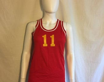 Closing Shop 40%off SALE Vintage Nylon Tank Top, Russell Athletic number 11    size small