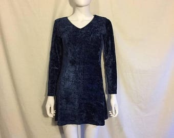 Closing Shop 40%off SALE 90s grunge plush velvety navy blue short dress, long sleeve grunge 90s dress