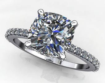 studded eliza ring - 1.7 carat cushion NEO moissanite engagement ring, colorless moissanite