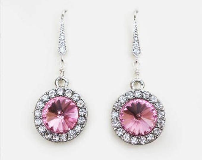 Rosaline Earrings Petite Pink Bridal Earrings Zircon Pave Sterling Silver Ear wire Round Drop Halo Earrings Prom Party Wedding