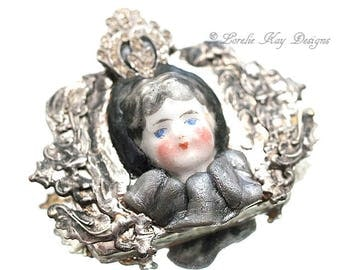 Little Princess Brooch Soldered Doll Face Statement Brooch Assemblage Pin One-of-a-Kind Assemblage Broach