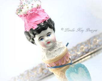 Ice Cream Cone Art Doll Sugary Sweet Cotton Candy Colors Art Doll Mixed Media China Doll Head Lorelie Kay Original