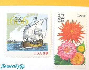 Wedding Postage Stamps for Nautical Wedding Invites, Sailing Ship - Fall Flowers, Mail 20 envelopes 2 oz, 71 cents autumn floral stamps