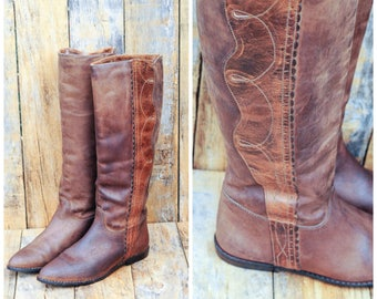 Brown Riding Boots, Us 7, Uk 5, Eu 37 38, Leather Riding Boots, Tall Riding Boots, Tall Leather Boots, Low Heel Boots, Zodiac Boots,