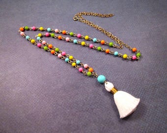White Cotton Tassel Necklace, Rainbow Glass Beaded Necklace, Gold and Brass Pendant Necklace, FREE Shipping U.S.