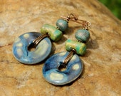 Blue & Yellow Donut Ceramic  Earrings