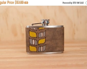 CLEARANCE SALE 4oz Flask - Roger pattern - Modern in yellow, gray, white and antique black