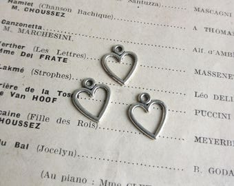 Small Silver Heart charms - silver plated - 14mm - 21 pieces