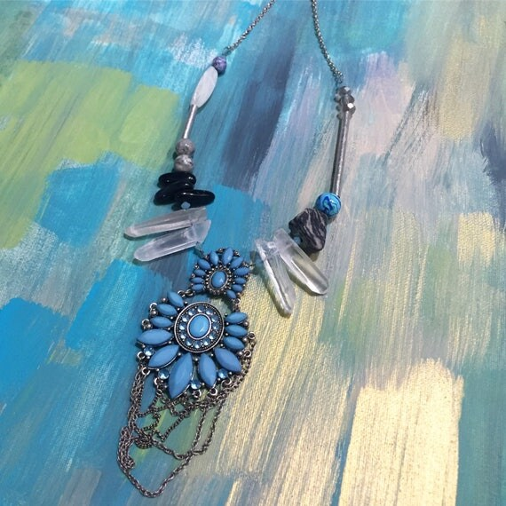 Joanne Necklace Vintage Mixed Media Crystal and Stone Statement Necklace