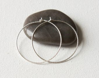 Sterling Silver Hoop Earrings, Jewellery Gift Women, Round Silver Earrings, Thin Lightweight Sparkly Hoops, Geometric Jewelry