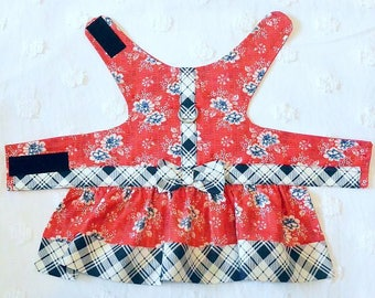 SALE~~~~~~Clearance~~~~~~~Dog Harness Dress Red White Blue Flowers Plaid~~~~~Small only
