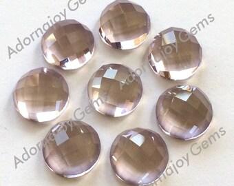 Gemstone Cabochon Pink Amethyst 10mm Checkerboard FOR ONE