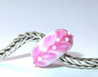 Luccicare Lampwork Bead - Pink V -  Lined with Sterling Silver