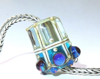 Luccicare Lampwork Bead - Lantern - FOCAL -  Lined with Sterling Silver