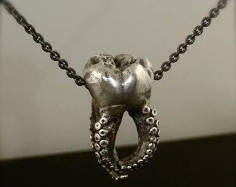 SALE SALE -  Wisdom Tooth Tentacle Pendant, Octopus Pendant, Molar Jewelry, Tooth Jewelry, Octopus Pendant, Teeth, Octopus Jewelry, Tentacle