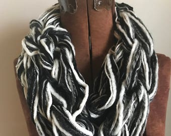 Black and White textured handknit bulky cowl, ready to ship, bulky lightweight warm oversized cowl