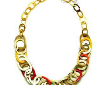 Horn & Lacquer Chain Necklace - Q12805
