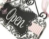SAMPLE Sale - OPEN CLOSED sign Pink and Black damask Boutique Sign - Wooden sign chandelier front door signage