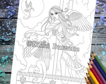 Coloring Page - Digital Stamp - Printable - Fantasy Art - Stamp - Adult Coloring Page - ALICIA - by Nikki Burnette