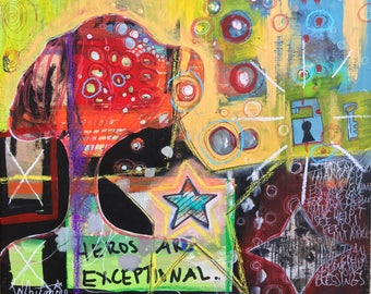 "Original ""exceptional"" Painting,  Mixed-media, Visionary, Intuitive, Channeling, Acrylic, Watercolor, Love, Magic, Freedom, Whitmire A"