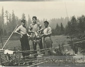 vintage photo 1912 Young Men Fish Catch Echo Lake Cedar Mountain Washington 2 photo lot