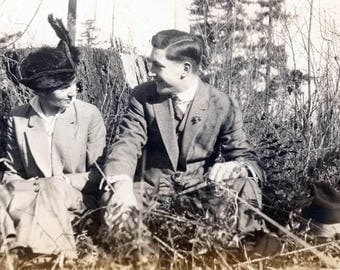 RESERVED FOR JOANNE vintage photo 1917 Man Woman Couple He Pulls Trip Wire Takes Selfie Photo in Grass