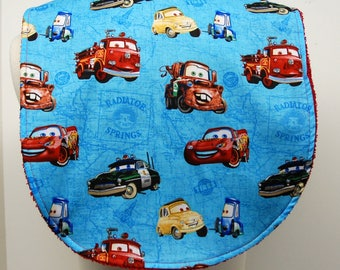 Youth/Junior Boy Bib, Special Needs, Cerebral Palsy, Drooling, Epilepsy, Seizure, 14-inch neck opening: Cars Characters on Blue