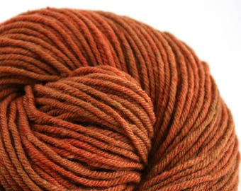 Hand Dyed Aran weight mini Empire Rambouillet Wool 213 yds 4oz Rusty