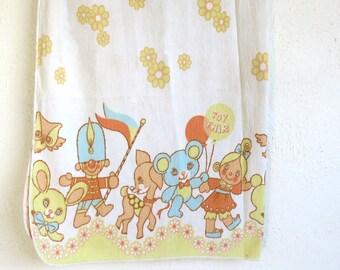 Vintage 1970s Baby Receiving Swaddle Blanket, Cute Baby Towel, Burp Cloth, Toy Fair Nursery Decor.