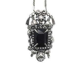 Cat Skull Snake star necklace     ONYX flower deer bow silver gold tall