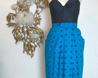 1980s skirt silk skirt draped skirt size medium liz claiborne turquoise skirt high waist skirt midi skirt 28 waist