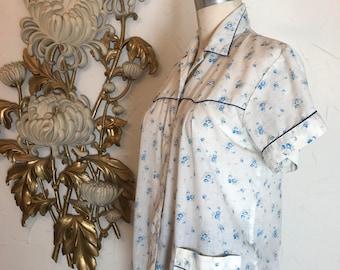 1940s blouse pj top cotton tunic floral blouse size medium vintage blouse 1940s loungewear 1940s pajama top 36 bust