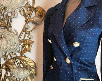 1990s jacket fitted jacket blue blazer dress jacket size medium vintage jacket double breasted jacket platinum jacket novelty print