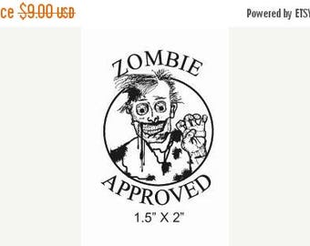 Xmas in July Zombie Approved Rubber Stamp Original Art 180