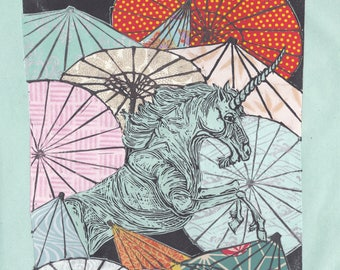 Unicorn Amongst Umbrellas XXXVI- Multimedia - Lino Block Print Unicorn with Collaged Japanese Papers & Ephemera Parasols on Black Washi